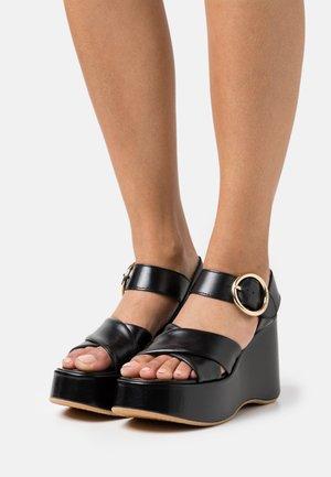 LYNA WEDGE - Platform sandals - black