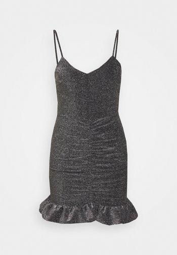 GLITTER STRAPPY RUCH MINI - Day dress - silver