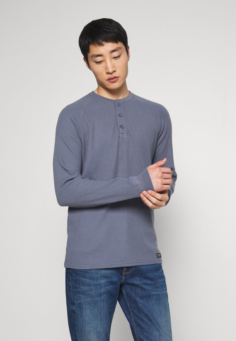 Abercrombie & Fitch - WAFFLE HENLEY - Camiseta de manga larga - blue