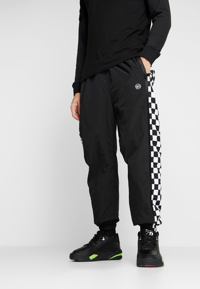 CHECKER PANTS - Tracksuit bottoms - black