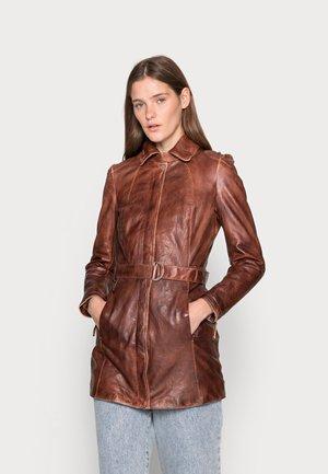 NEW BROOKLYN - Leather jacket - cognac