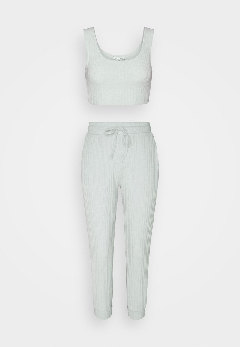 Topshop Petite - NEW COSY BRUSHED JOGGER SET - Top - ice blue