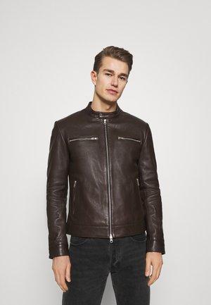 BIKER - Leather jacket - braun