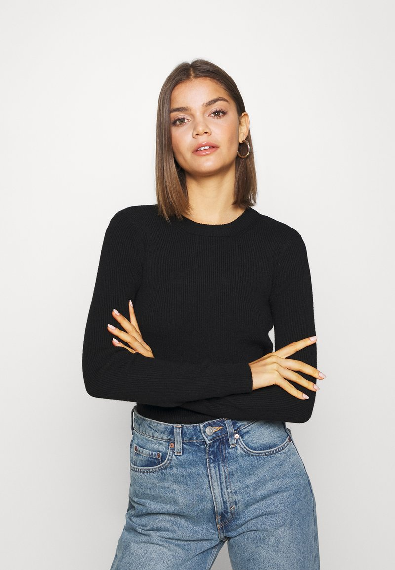 Pieces - PCBASSY O NECK - Sweter - black