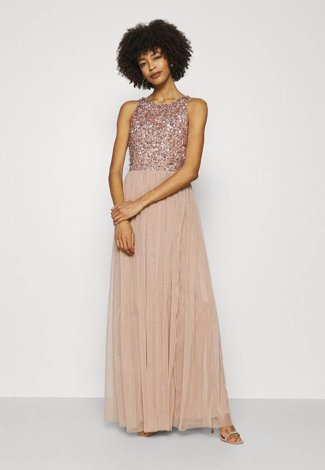 CUT OUT BACK DELICATE SEQUIN MAXI DRESS - Galajurk - taupe blush