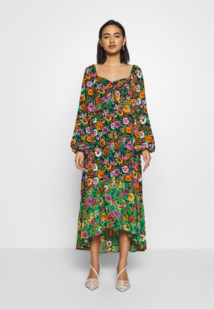 THE PUFFSLEEVE MIDI DRESS - Maxikleid - green/multi