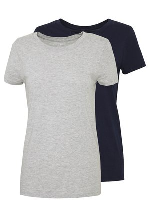 CREW 2 PACK - Basic T-shirt - navy uniform/grey