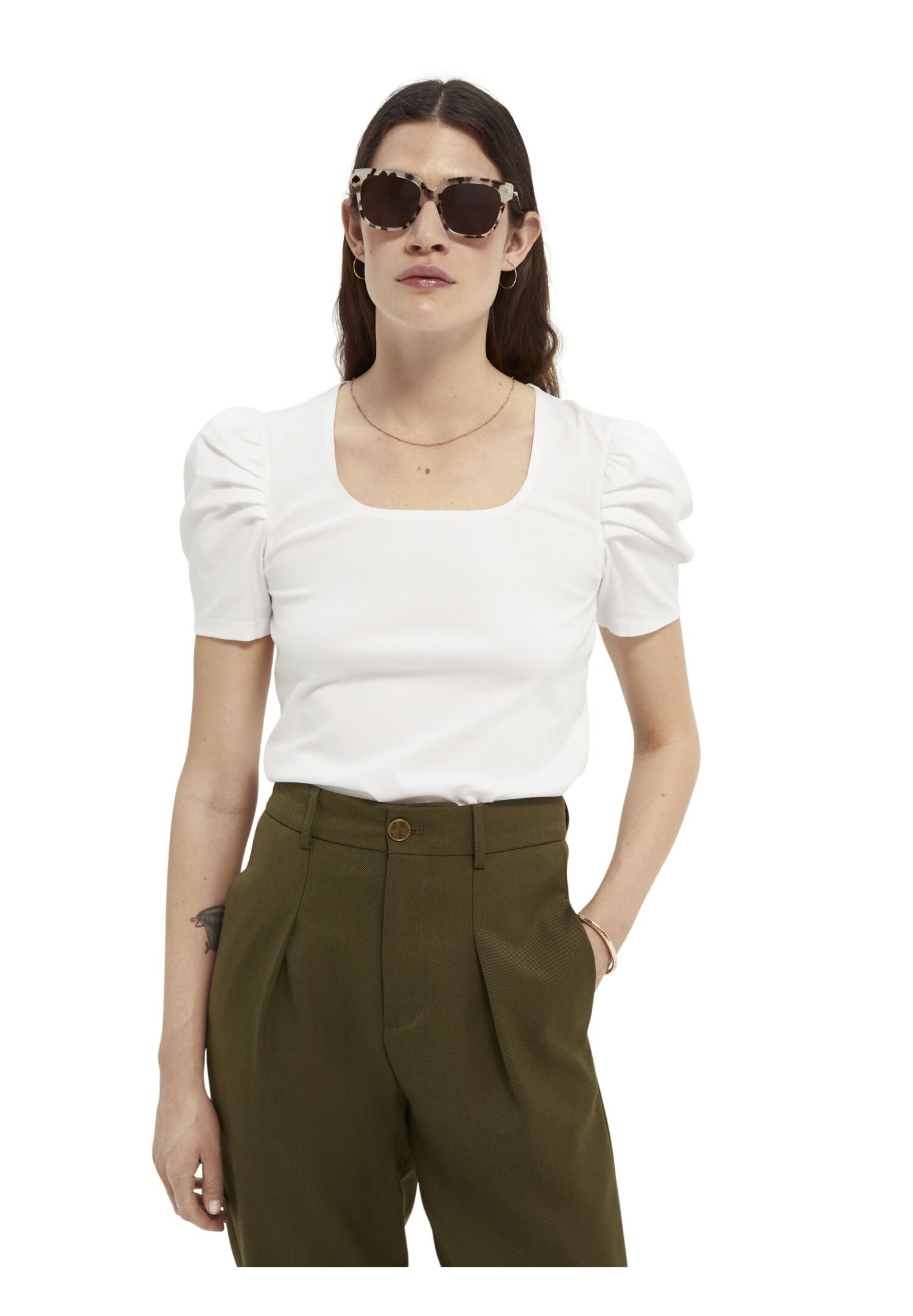 Women PUFFY SHORT SLEEVE TEE WITH SQUARE NECK - Print T-shirt