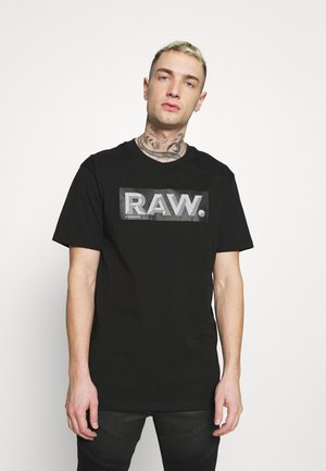 REINFORCED REFLECTIVE RAW LOGO - Print T-shirt - dark black
