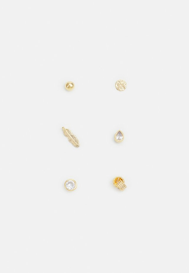 MINI FEATHER MIXED STUD EAR 6 PACK - Oorbellen - gold-coloured