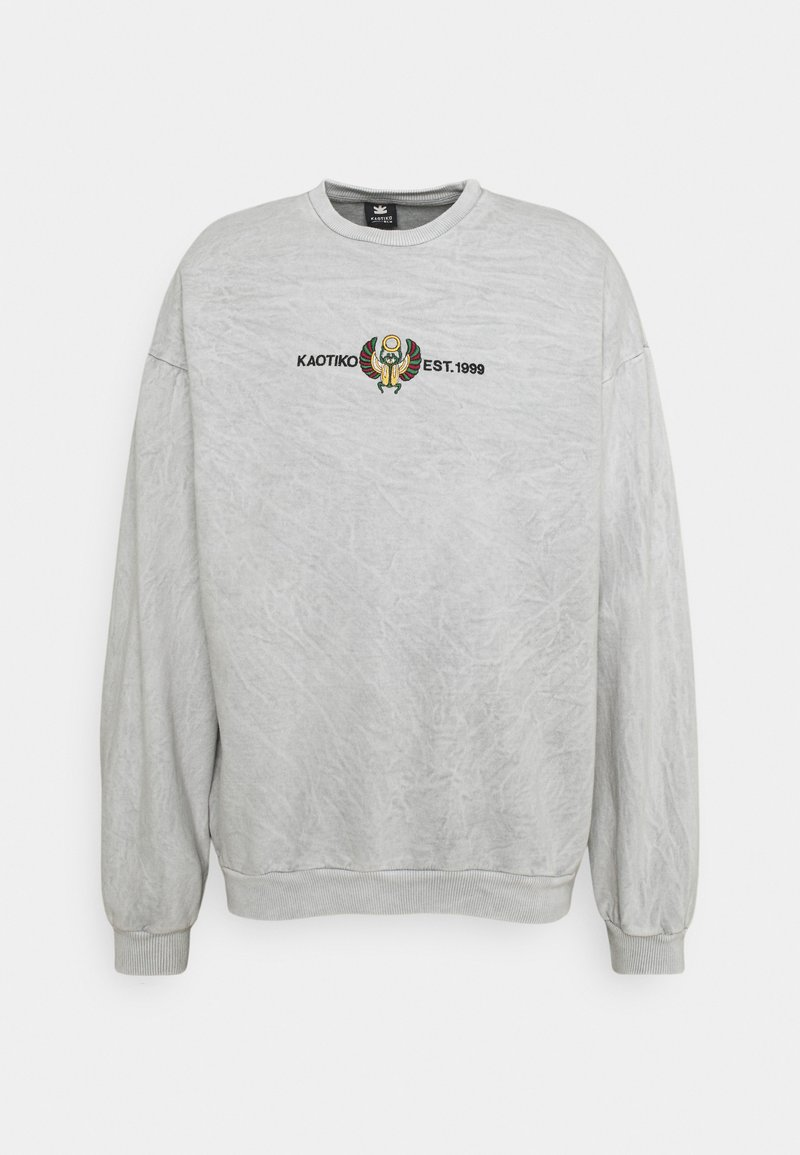 Kaotiko - CREW WASHED BEETLE UNSIEX - Sweatshirt - grey mel