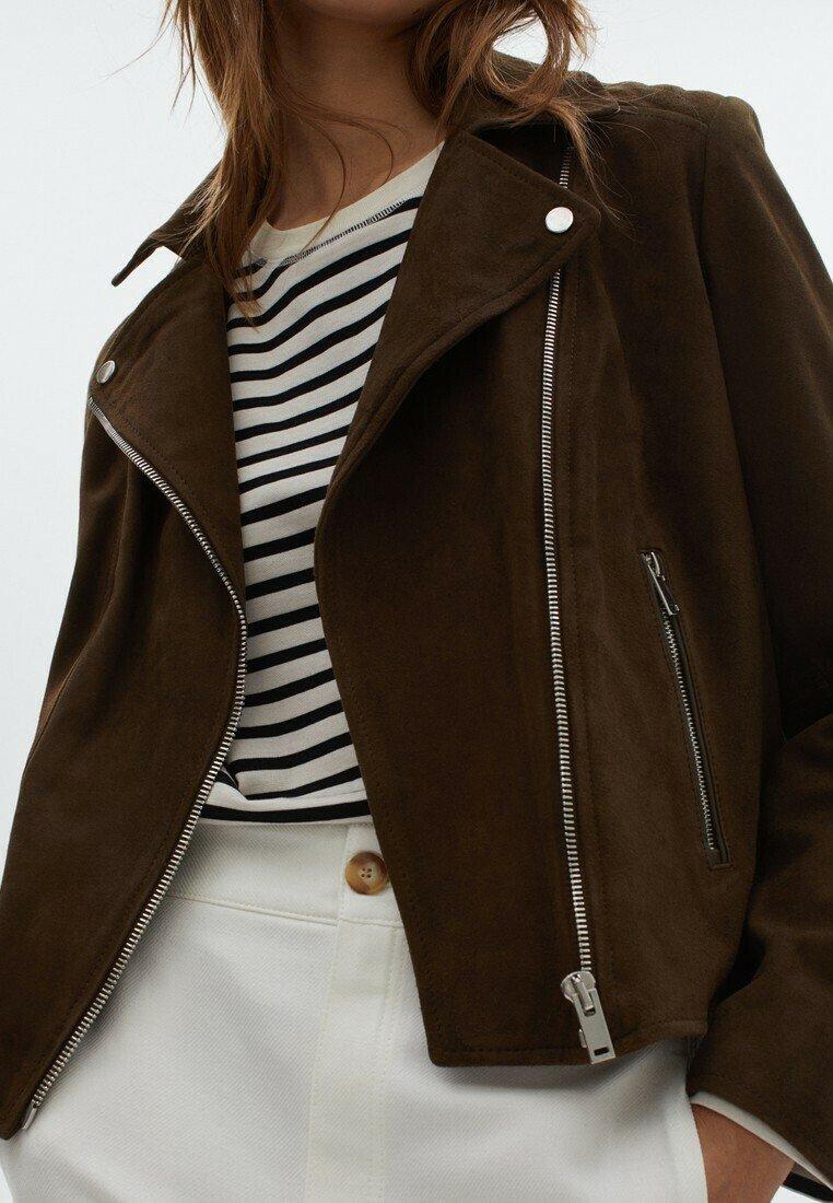 Massimo Dutti - Leather jacket - green