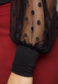 New Look Curves - SPOT SQUARE NECK - Top sdlouhým rukávem - black - 5