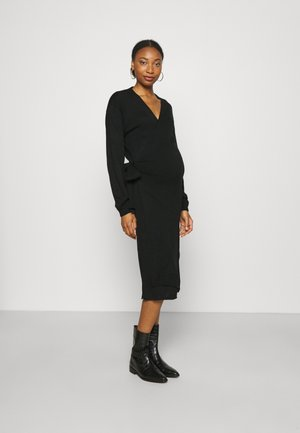 TIE WRAP FRONT LONG SLEEVE MIDI DRESS - Gebreide jurk - black