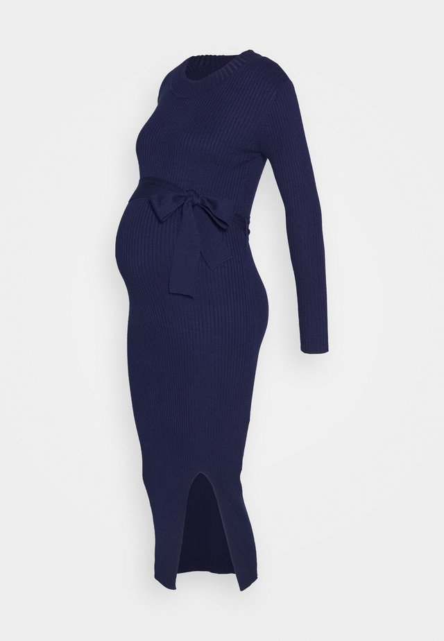 MIDI DRESS WITH BELT - Jerseykjole - navy