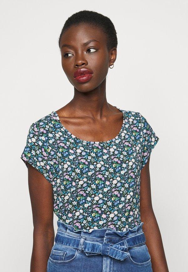 ONLY Tall ONLVIC - T-shirt z nadrukiem - black/niebieski YZCH