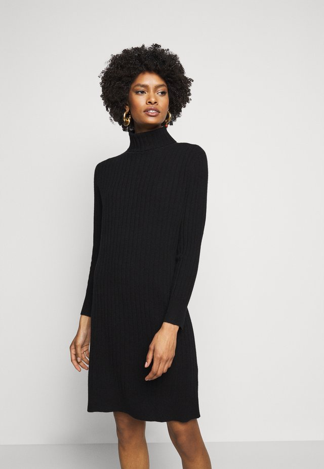 TURTLENECK DRESS - Robe pull - black