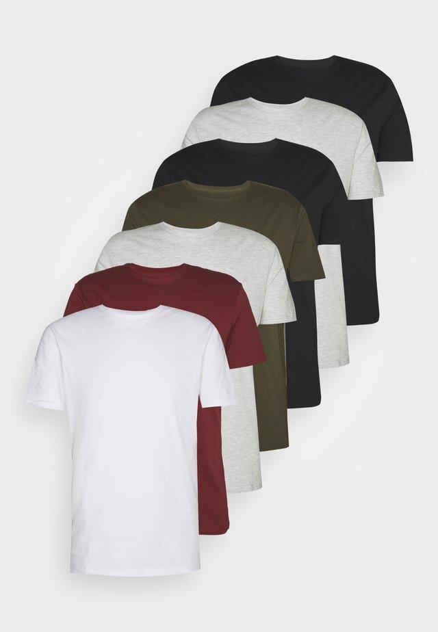 7 PACK - T-shirt basic - black/white/olive