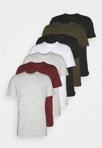 7 PACK - T-shirt - bas - black/white/olive
