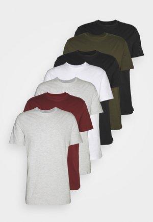 7 PACK - Camiseta básica - black/white/olive