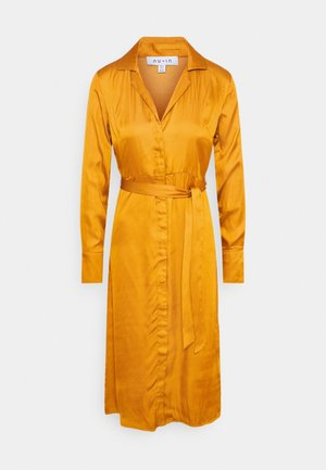 BELTED LAPEL COLLAR MIDI DRESS - Shirt dress - rust