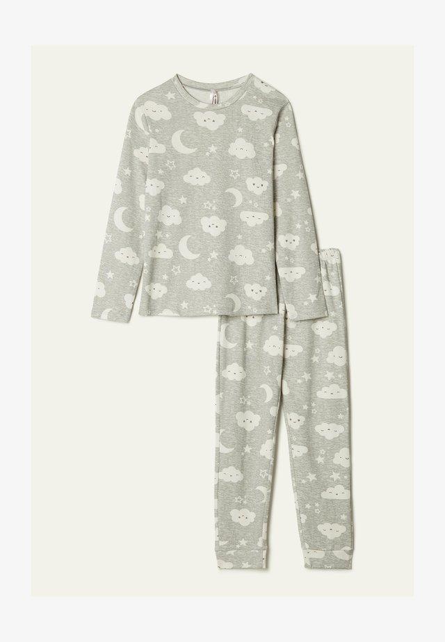 MIT MOND UND WOLKENPRINT - Pyjama set - grau - 8682 - light grey blend moon/cloud print