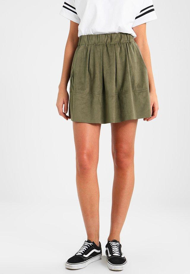 KIA - Áčková sukně - dusty olive green