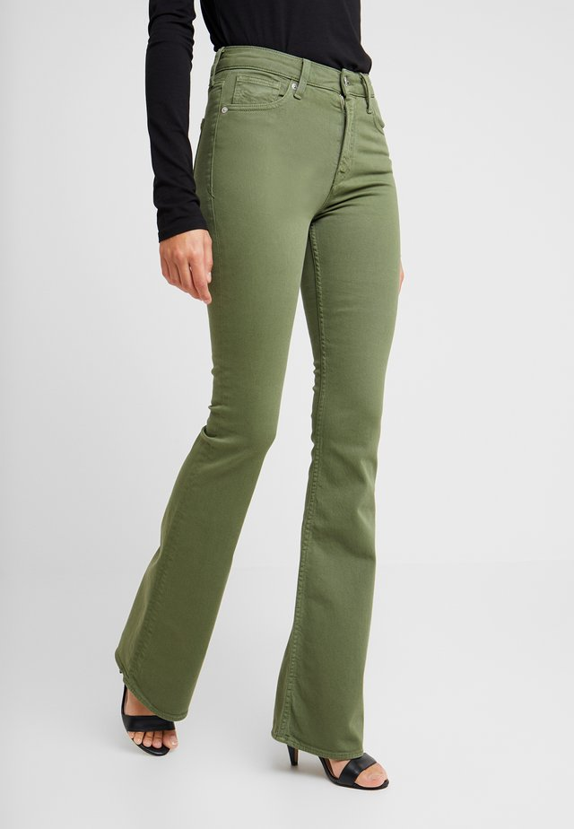 MARIE - Flared Jeans - deep green twill