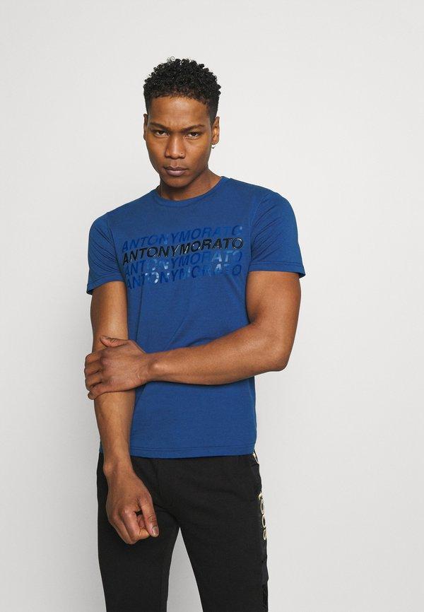 Antony Morato SLIM FIT WITH LOGO - T-shirt z nadrukiem - cobalto scuro/niebieski Odzież Męska EFSG