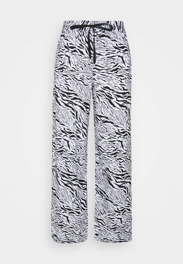 ZEBRA WIDE LEG - Trousers - black