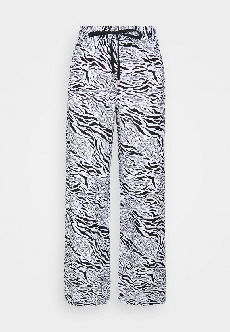 Marks & Spencer London - ZEBRA WIDE LEG - Trousers - black