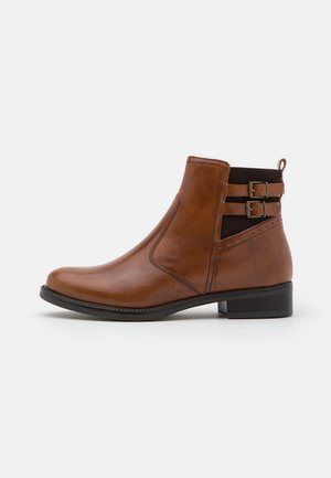 LEATHER - Classic ankle boots - cognac