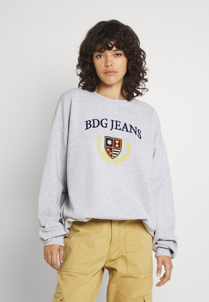 BDG Urban Outfitters - LARGE CREST EMBROIDERED CREWNECK - Sweatshirt - grey marl