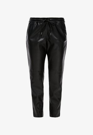 REGULAR FIT IN LEDER-OPTIK - Trousers - black