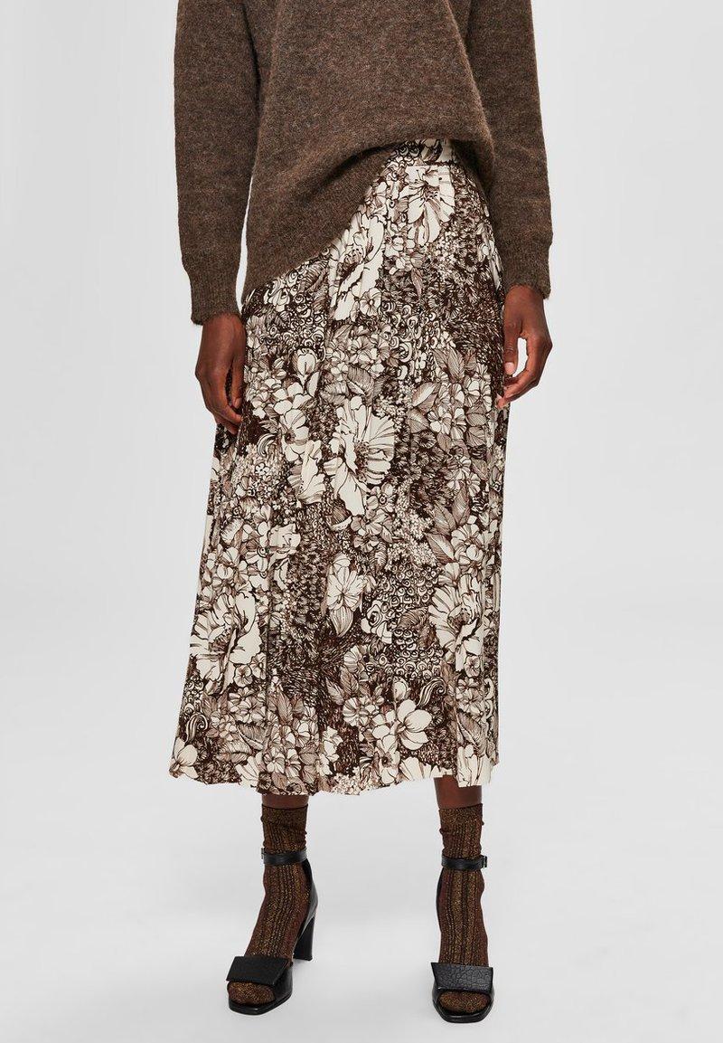 Selected Femme - A-line skirt - sandshell