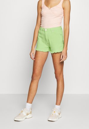 FRAYED HIGH WAIST - Denim shorts - lime green