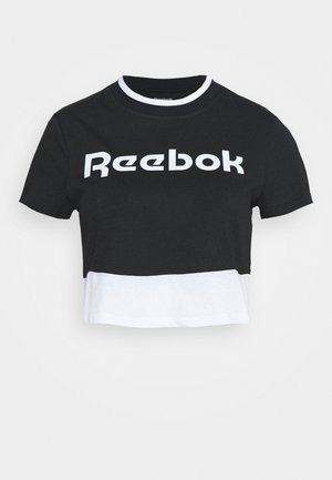 LINEAR LOGO CROP TEE - Print T-shirt - black