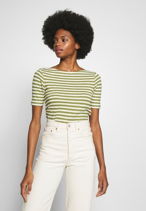 SHORT SLEEVE BOAT NECK STRIPED - Print T-shirt - seaweed green