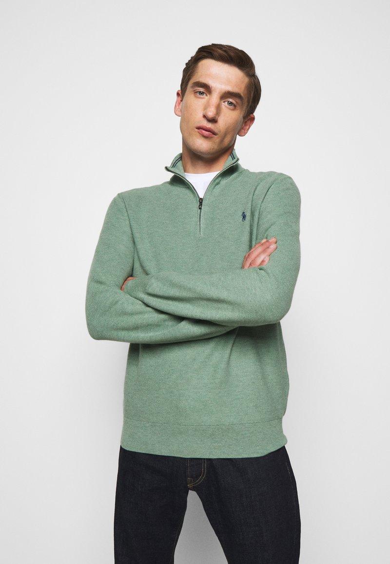 Polo Ralph Lauren - COTTON HALF-ZIP SWEATER - Stickad tröja - seafoam heather