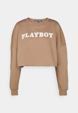 PLAYBOY LOGO CROP - Sweatshirt - brown