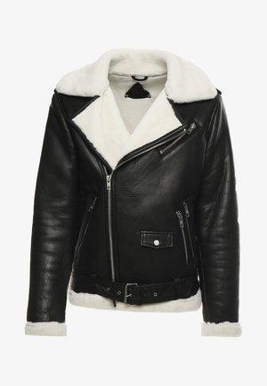 BEJOSHUA - Leather jacket - black/offwhite