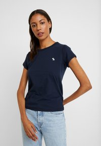 Abercrombie & Fitch - CREW 3 PACK - Basic T-shirt - white/navy/black - 2