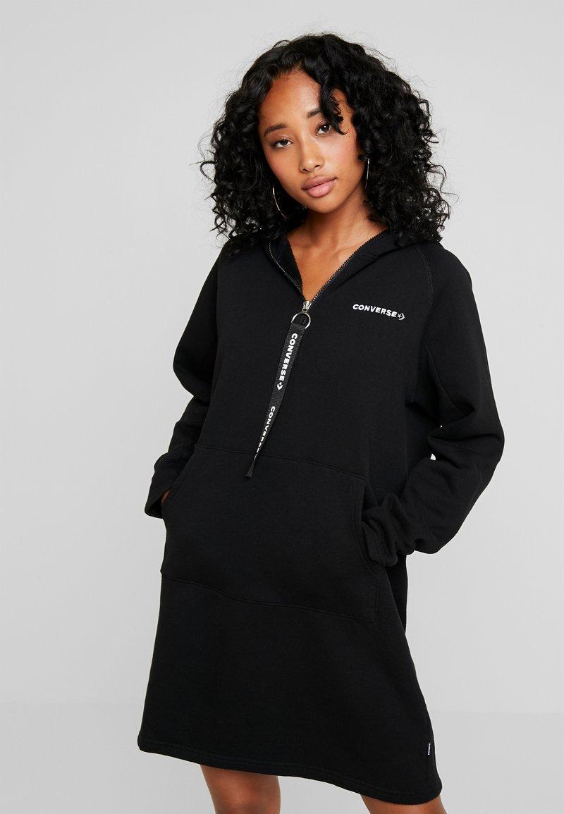 Converse - HOOD DRESS ZIP-PULLER - Shirt dress - black