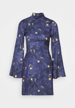 HIGH NECK MINI MOON AND STARS DRESS - Shift dress - navy multi