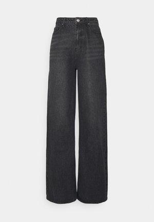 HIGH RISE WIDE - Jeans straight leg - black