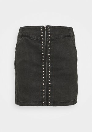 STUDDED MINI SKIRT - Mini skirt - black acid