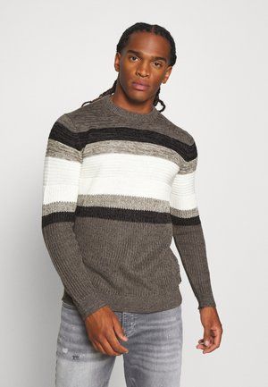 ONSLAZLO STRIPED - Svetr - medium grey melange