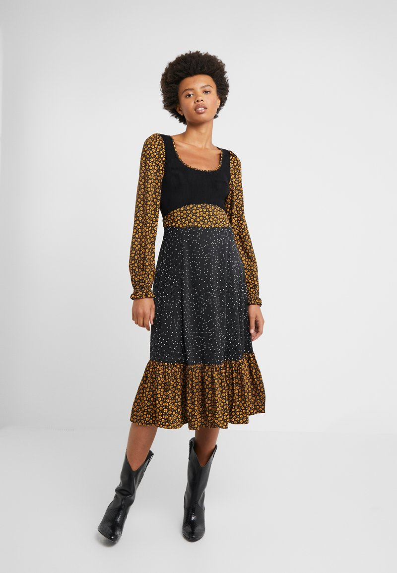 Opening Ceremony - MIXED MIDI DRESS - Day dress - goldenrod