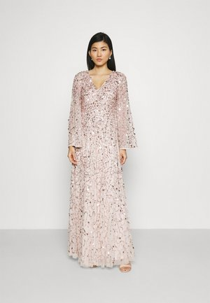 ALL OVER 3D EMBELLISHED DRESS WITH BELL SLEEVE - Ballkjole - pearl pink