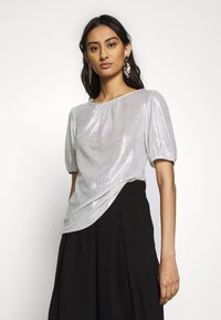 Dorothy Perkins - PUFF SLEEVE TEE - Print T-shirt - silver - 0